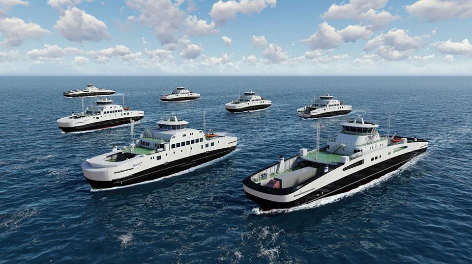 Sedem električnih trajektov Havyard Fjord1