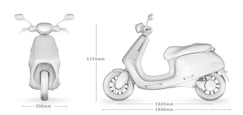 Električni skuter AppScooter dimenzije